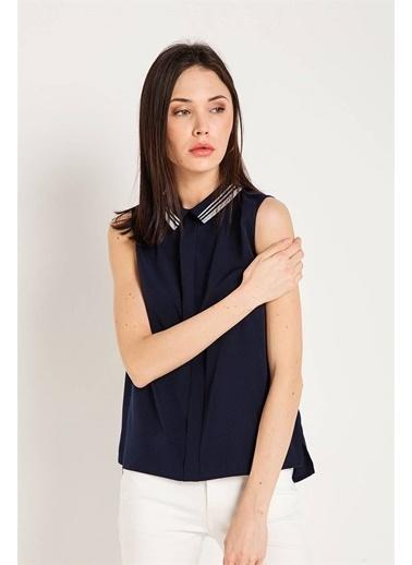 Rue Kolsuz Gömlek Bluz Lacivert